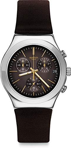 Swatch Orologio Analogico Quarzo Unisex Adulto con Cinturino in Pelle YCS600