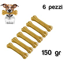 Delizioso Snack 6unidades para perros de pequeño y mediano talla a forma de hueso (100% Piel de Cerdo antiestrés