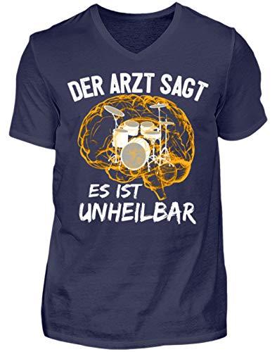 Schlagzeug Shirt · Drummer · Geschenk für Schlagzeuger · Motiv: Es ist unheilbar - Herren V-Neck Shirt -L-Dunkel-Blau - Trommeln Dunklen T-shirt