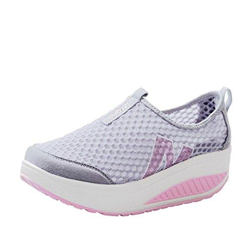 FNKDOR Damen Mesh Wanderschuhe Plateau Sneaker Keilabsatz Atmungsaktiv Sportschuhe (40, Grau)