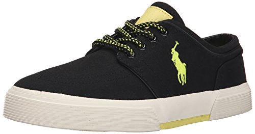 Ralph Lauren Mens Faxon Low Canvas Trainers Polo Black/Neon Yellow