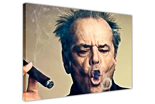 Jack Nicholson-Rauchen Zigarre und Blowing Smoke frmaed Leinwandbild, Kunstdruck Landschaft Bilder, canvas holz, 06- A0 - 40