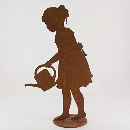 440s SAREMO Rost Figur Mädchen Lisa mit Gießkanne auf Platte, H ca. 40 cm   SA-GL40P   4260553562196 Fraulein Mädchen