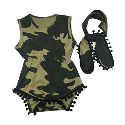 Bekleidung Longra Säugling Baby jungen Mädchen zu tarnen, Camouflage Shirt Strampler Overall Outfits + Stirnband Sommer Baby Kleidung bodysuits Strampelanzug(0 -18Monate) (100CM 18Monate, Camouflage) (Jumper Breiter Bund)