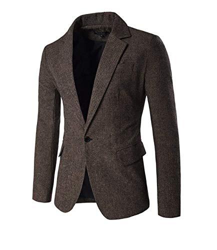 Slim Fit Sportlich Herren Tweed Männer Herringbone Freizeit Jungen Herrenmode Casual Anzugjacken Blazer Sakko Slim Fit Nner (Color : Kaffeebraun, Size : M) -
