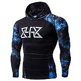 TianWlio Hoodie Winter Herren Männer Fitness Lange Ärmel Bodybuilding Haut Tops Hoodie Sweatshirts Bluse Blau L