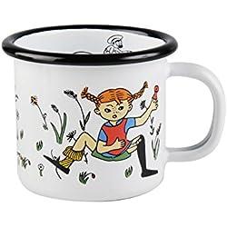 """Pippi Longstocking 1,5 dl """"Pippi and Mr Nilsson"""" taza esmaltada, blanco"""