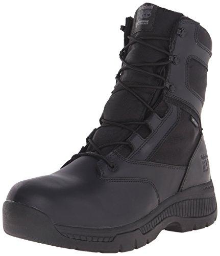 Timberland PRO Men's 8 Inch Valor Soft Toe WP Side Zip Work Boot, Black Smooth Leather Ballistic Nylon, 9 M US