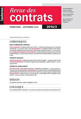 RDC - Revue des contrats N°3-2016