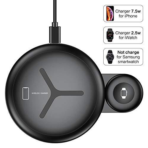 FLOVEME Fast Wireless Charger, 2 in 1 Induktions Ladegerät und Apple Watch Ladekabel für 4/3/2/1, Qi Ladestation für iPhone XS Max/XR/X/8 Plus/8 Samsung Note 9/8 und Alle Qi-fähigen Telefone Schwarz