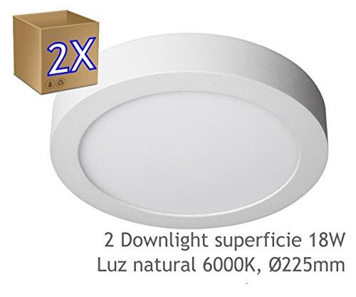 2 Downlight led 18W 6000ºK redondo superficie blanco - Jandei