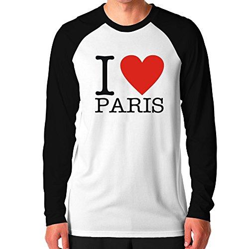 Teeburon i love paris classic maglietta a manica lunga raglan