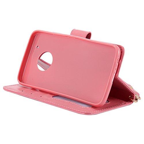 ISAKEN Custodia per Lenovo Moto G5 Plus - Fashion Agganciabile Luminosa Custodia con LED Lampeggiante PU Pelle Portafoglio Tinta Unita Cover Caso per Moto G5 Plus, Luxury Protettivo Skin Custodia Raga Rosa