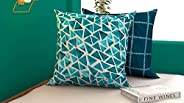"COZY FURNISH Quilted Cushion Covers Set of 2 Printed Cotton Cushion Covers (24"" Inch x 24"" in"