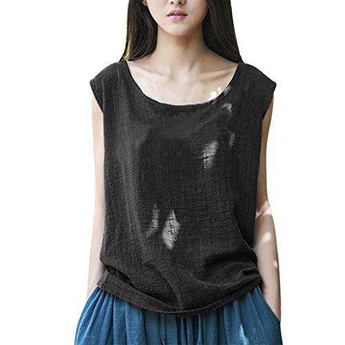 CAOQAO T-Shirt Rundhals Ausschnitt Sweatshirt Damen-Weinlese-Sleeveless BaumwollleinenbeiläUfige Lose Ernte üBersteigt Westen-Bluse