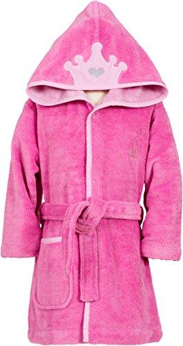 Smithy Kinder-Bademantel Superflausch mit Krone, Farbe pink, Gr. 110/116 (Krone 003)
