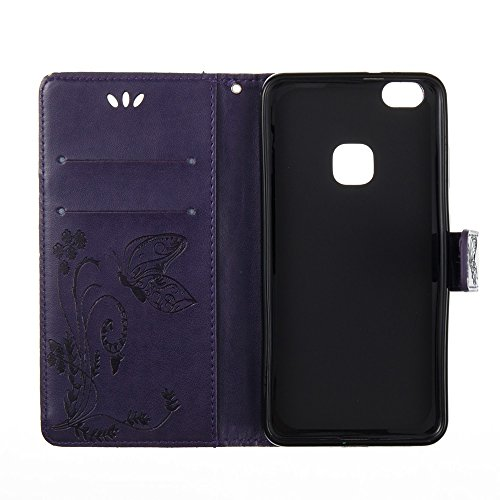 Solid Color Faux Leder Bookstyle Brieftasche Stand Case mit geprägten Blumen & Lanyard & Card Slots für Huawei P10 Lite ( Color : Coffee ) Purple