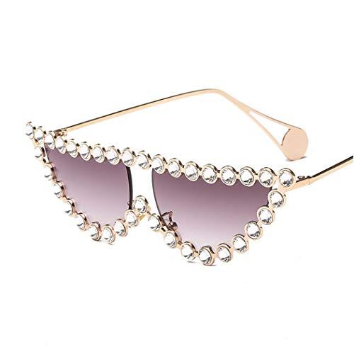ROirEMJ Frauen Sonnenbrillen Mode Diamond Frame Cat Eye Sonnenbrille Vintage Dreieck Schattierungen...