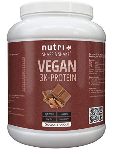 PROTEINPULVER VEGAN Schokolade 1kg | 80,2{ab56db77def03fa7c374c3d2fb77225225576efa4224141c014111204fa64dad} Eiweiß | Nutri-Plus Shape & Shake 3k-Protein | Veganes Eiweißpulver Schoko ohne Laktose | in Deutschland hergestellt