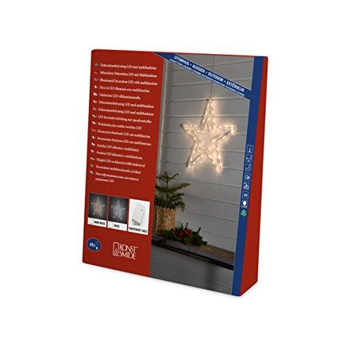 Konstsmide 4471-203 LED Acryl Stern / für Außen (IP44) / mit 8 Funktionen, Steuergerät und Memoryfunktion / 48 kalt weiße Dioden / 24V Außentrafo / transparentes Kabel