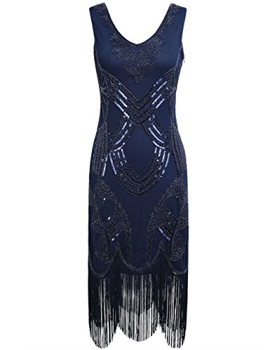 PrettyGuide Donne 1920s Gatsby Art Deco Perlina Paillettes Frange Vestito Flapper Da Cocktail Marina