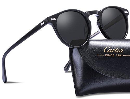 Carfia Retro Runde Sonnenbrille Outdoor Polarisierte Sonnenbrille für Damen Herren, 100% UV 400 Schutz (Rahmen: Schwarz; Linsen: Grau) (Herren, Rahmen: Schwarz; Linsen: Grau)