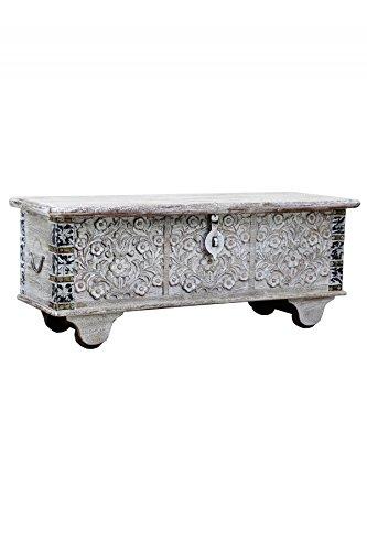Orientalische Truhe Kiste aus Holz Daher 116cm White Wash | Vintage Sitzbank mit Aufbewahrung für den Flur | Aufbewahrungsbox mit Deckel im Bad | Betttruhe als Kissenbox oder Deko im Schlafzimmer (Marrakesch Bad)