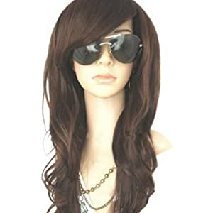 MelodySusie® Dark Brown Curly Wigs - Natural and Full Wavy Chocolate Brown Wigs for Women, High Quality Wig with Free Wig Cap and Wig Comb