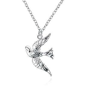 styleziel damen halskette silberkette mit schwalbe vogel. Black Bedroom Furniture Sets. Home Design Ideas