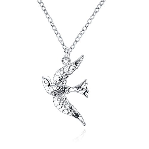 Styleziel Damen Halskette Silberkette mit Schwalbe Vogel als Anhänger 45 cm 1676