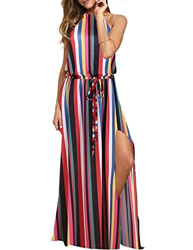 BMJL Damen Kleider Einstellbares rückenloses Neckholder Maxikleid mit Split und Tie Dye Färbung. Ärmellos Maxi Strand Boho Cocktail Party Sommer Frauen Bodenlanges Sonne Kleid
