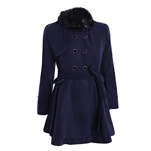 VEMOW Herbst Frauen Warm Schlank Mantel Mode Kunstpelz Revers Zweireiher Jacke Parka Mantel Lange Wolle Trenchcoat Jacke Winter Outwear(Dunkelblau, EU-48/CN-4XL)
