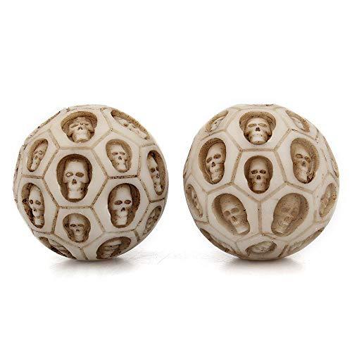 FOONEE Skull Fitness Ball, Girare a Mano in Resina Salute Ball Rolling decompressione Sfera di Massaggio Esercizio Giocattolo, Confezione da 2