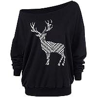 Hanomes Damen Pullover,Damen Weihnachten Langarm Pullover Wapiti Sweatshirt Casual Tops Trägerlos Bluse Oversize... preisvergleich bei billige-tabletten.eu