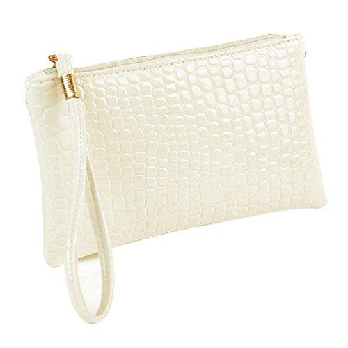 Longra Damen-Geldbörsen Krokodil PU Leder Clutch Handtasche Tasche Geldbörse portemonnaie (White)