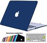 iNeseon Coque Macbook Air 13 Pouces, Cover Étui de Protection Rigide avec EU Transparent Couverture de Clavier pour MacBook Air 13.3 Pouces Modèle A1466 et A1369, Pivoine Marine