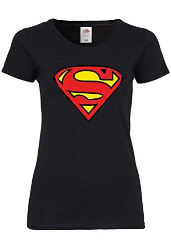 M91 F288N Damen T-Shirt mit Motiv Superman, (Ideen 999 Kostüm)