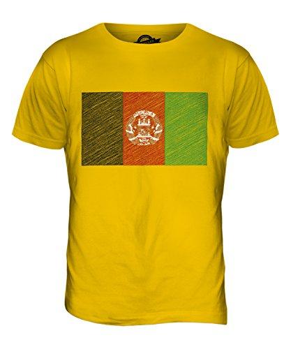 CandyMix Afghanistan Kritzelte Flagge Herren T Shirt Dunkelgelb