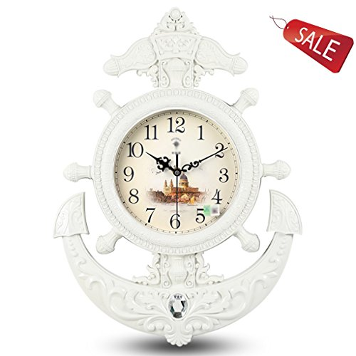Orologio da parete europeo grande timone orologio retro orologio al quarzo soggiorno creativo muto moda muto ( color : white )