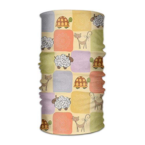 Women Men's Turban Toys and Animals in A Checkered Background Teddy Bears Sheep Cats Duck Toys Get Together Scarf - Mesh Womens Teddy
