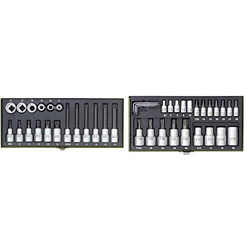 Proxxon 23296 Spezial-Steckschlüsselsatz für Vielzahnschrauben XZN, 18-teilig & 23102 TORX Nüsse...