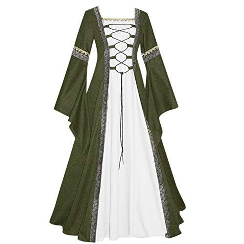 HHyyq Damen Kleid Vintage Short Petal Sleeve Slash Neck Mittelalterlichen Kleid Cosplay Kleid mit Trompetenärmel Mittelalter Party Kostüm Kleidung Partykleider(Grün,XL) -