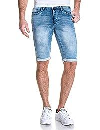 Deeluxe 74 - Short en jean bleu bleach délavé
