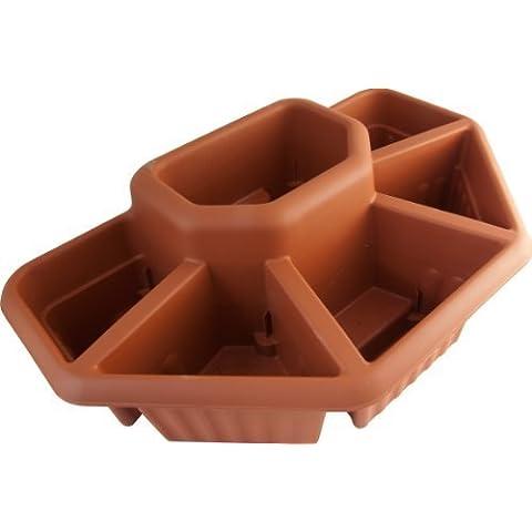 6 Compartment Plastic Terracotta Garden Planter Patio Plant Pot Trough Gardening by Ward