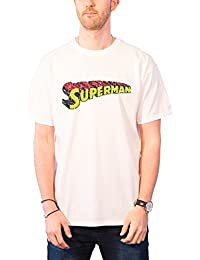 DC Comics Superman T Shirt Mens Vintage Telescopic Crackle Logo Official White