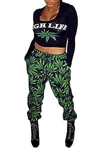 Gabriela Boutique Ensemble haut et pantalon Motif Feuilles de cannabis Vert et noir Taille S/M