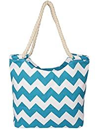Carmer Zigzag Women Shopping Bags (white&sky Blue)