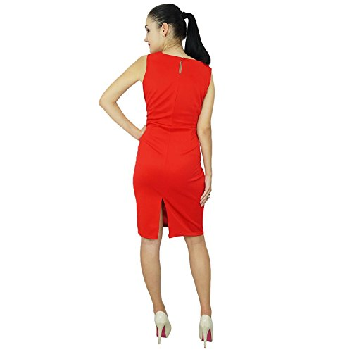 Bimba Classique Des Femmes Slim Fit Bodycon Robe Sans Manches Personnalisée Midi Formelle Rouge