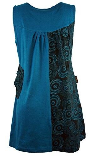 Mini-robe tunique boho chick- tunikas-bleu pétrole Bleu