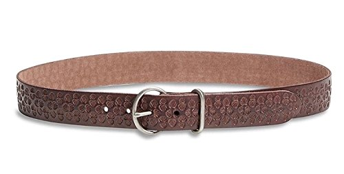 Lucky Brand Women's - Amina Palm Leaf Embossed Brown Leather Belt - Brown Palm Leaf